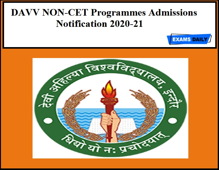 DAVV NON-CET Programmes Admissions Notification 2020-21