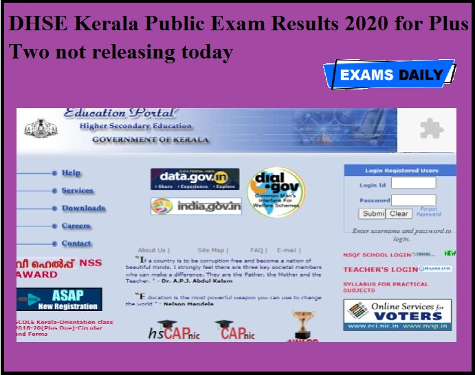 DHSE Kerala Public Exam Results 2020 for Plus Two not releasing today
