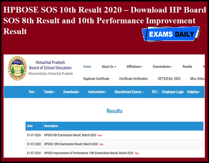 HPBOSE SOS 10th Result 2020 OUT – Download HP Board SOS 8th Result and 10th Performance Improvement Result