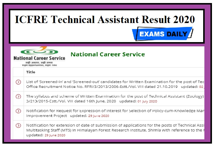 ICFRE Technical Assistant Result 2020