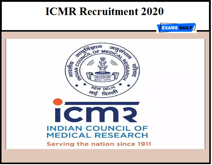 ICMR Recruitment 2020 Out- SRF & Other Vacancy