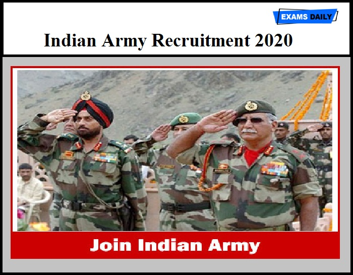 Indian Army Recruitment 2020 - Soldier General Duty & Other Vacancies