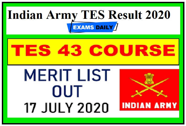 Indian Army TES Result 2020 Out – Download Here