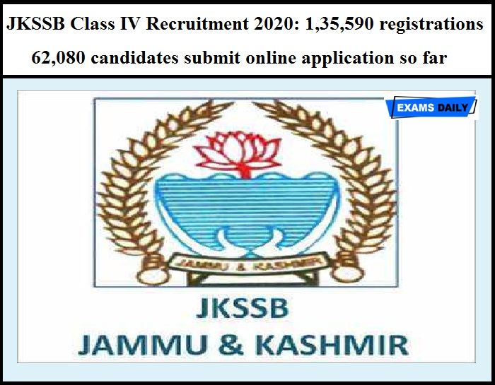 JKSSB Class IV Recruitment 2020: 1,35,590 registrations & 62,080 candidates submit online application so far