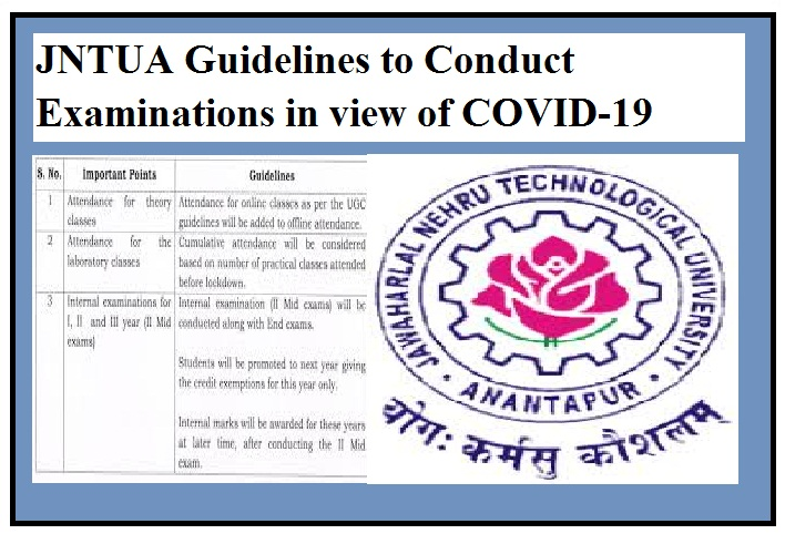 JNTUA Guidelines to Conduct Examinations in view of COVID-19