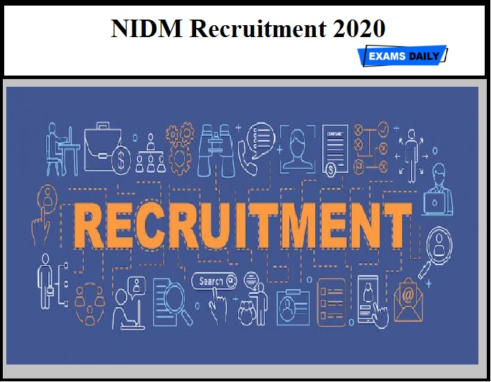 NIDM Recruitment 2020 OUT – Download Application Form
