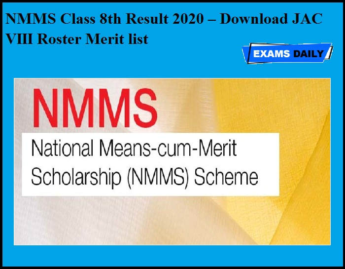 NMMS Class 8th Result 2020 OUT – Download JAC VIII Roster Merit list