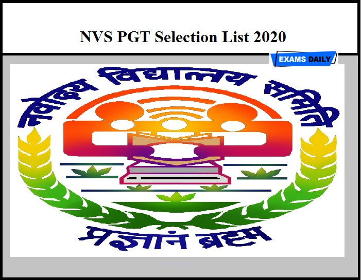 NVS PGT Result 2020 Out – Download Selection List Here