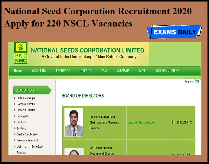 National Seed Corporation Recruitment 2020 OUT – Apply for 220 NSCL Vacancies