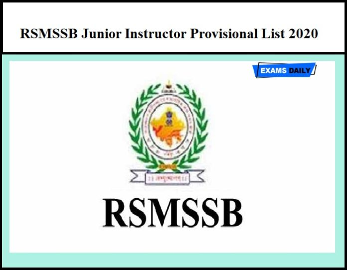 RSMSSB Junior Instructor Result 2020 Out – Download Provisional List Here