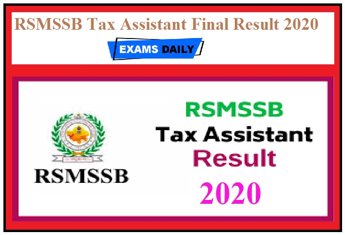 RSMSSB Tax Assistant Final Result 2020 Out – Download Cut Off, Merit List Here
