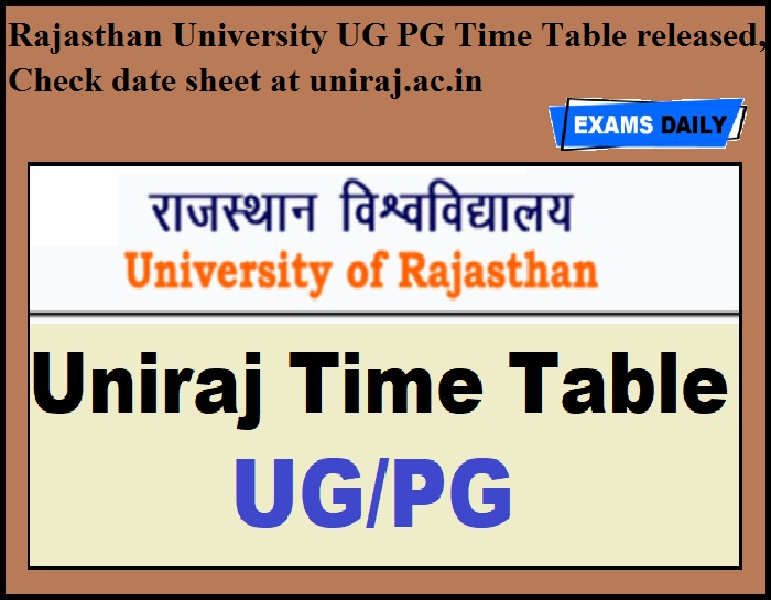 Rajasthan University UG PG Time Table released, Check date sheet at uniraj.ac.in