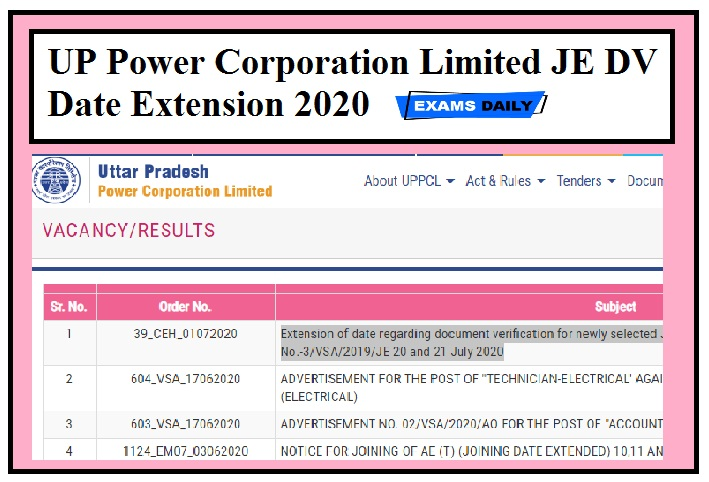 UP Power Corporation Limited JE DV Date Extension 2020