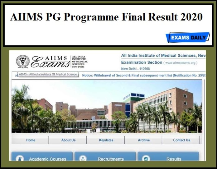 AIIMS PG Programme Final Result 2020