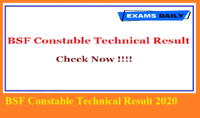 BSF Constable Technical Result 2020
