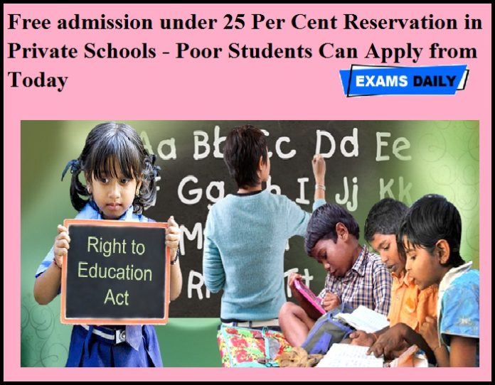 Free admission under 25 Per Cent Reservation in Private Schools - Poor Students Can Apply from Today