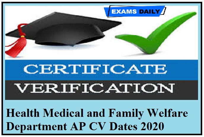 Health Medical and Family Welfare Department AP CV Dates 2020