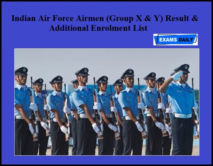 Indian Air Force Airmen (Group X & Y) Result & Additional Enrolment List
