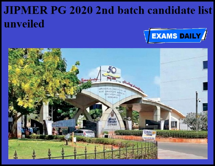 JIPMER PG 2020 2nd batch candidate list unveiled