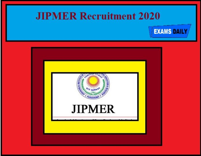 JIPMER Recruitment 2020