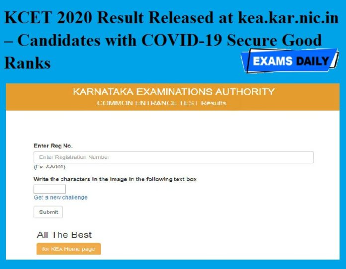 KCET 2020 Result Released at kea.kar.nic.in – Candidates with COVID-19 Secure Good Ranks