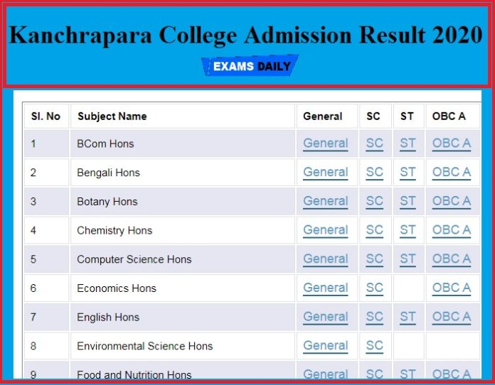 Kanchrapara College Admission Result 2020