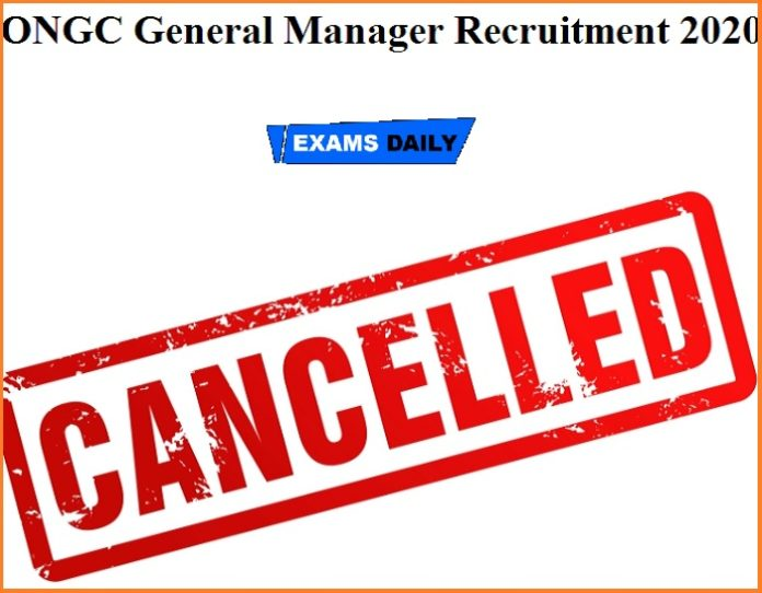 ONGC General Manager Recruitment 2020