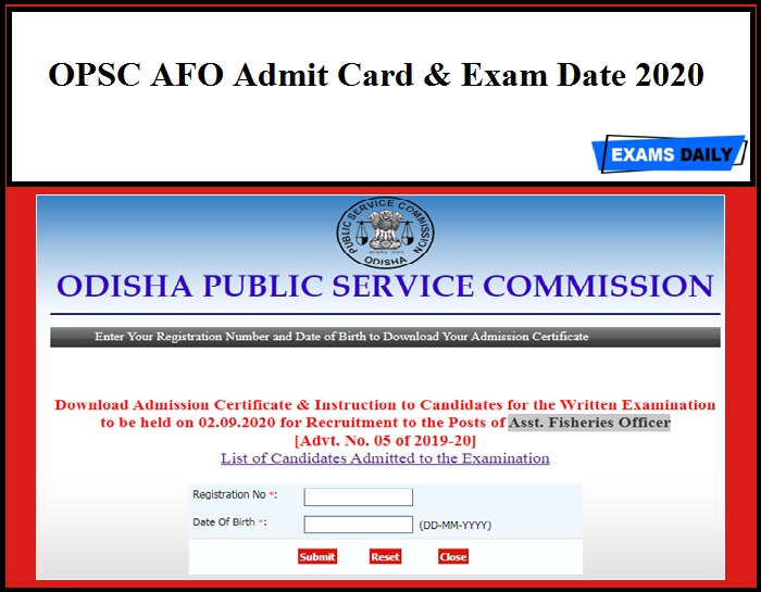 OPSC AFO Admit Card & Exam Date 2020