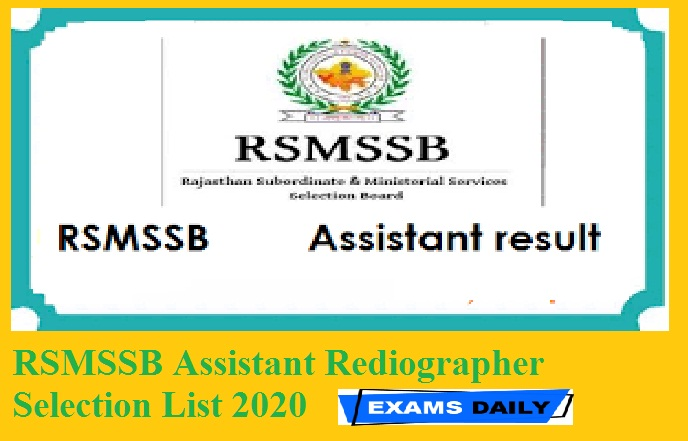 RSMSSB Assistant Rediographer Selection List 2020