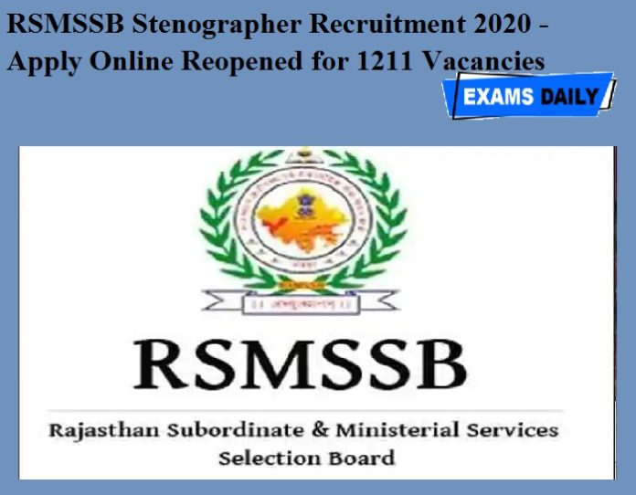 RSMSSB Stenographer Recruitment 2020 - Apply Online Reopened for 1211 Vacancies