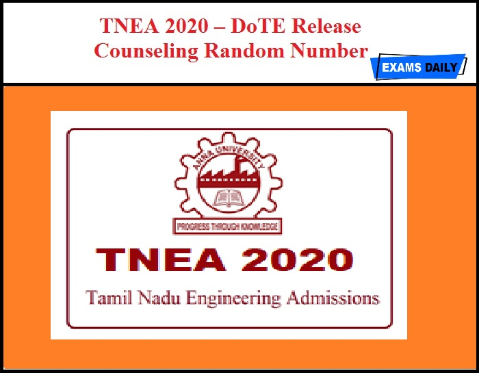 TNEA 2020 – DoTE Release Counseling Random Number on 21st August
