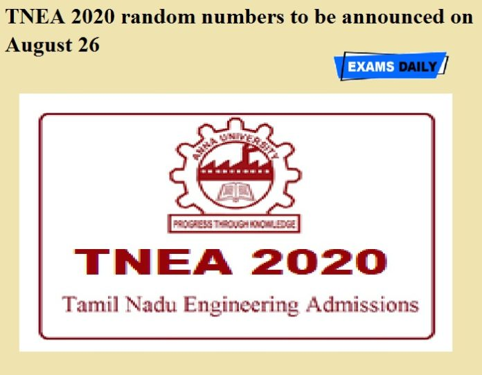TNEA 2020 random numbers to be announced on August 26