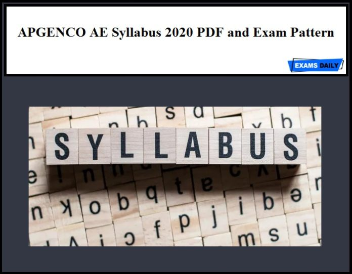 APGENCO AE Syllabus 2020 PDF and Exam Pattern