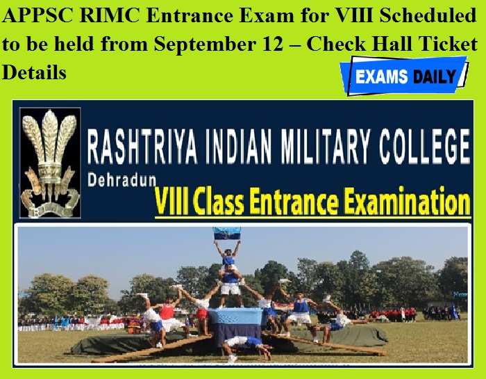 APPSC RIMC Entrance Exam for VIII Scheduled to be held from September 12 – Check Hall Ticket Details