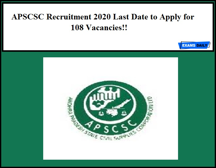 APSCSC Recruitment 2020 Last Date to Apply for 108 Vacancies!!