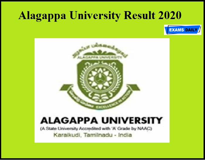 Alagappa University Result 2020 OUT