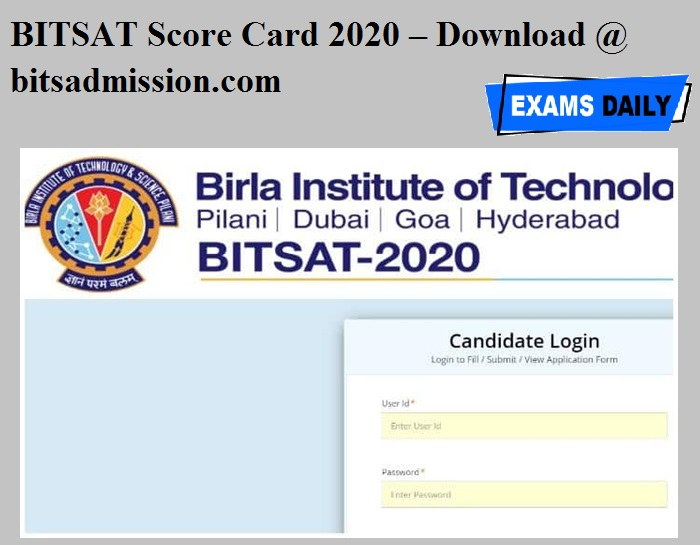 BITSAT Score Card 2020 OUT – Download @ bitsadmission