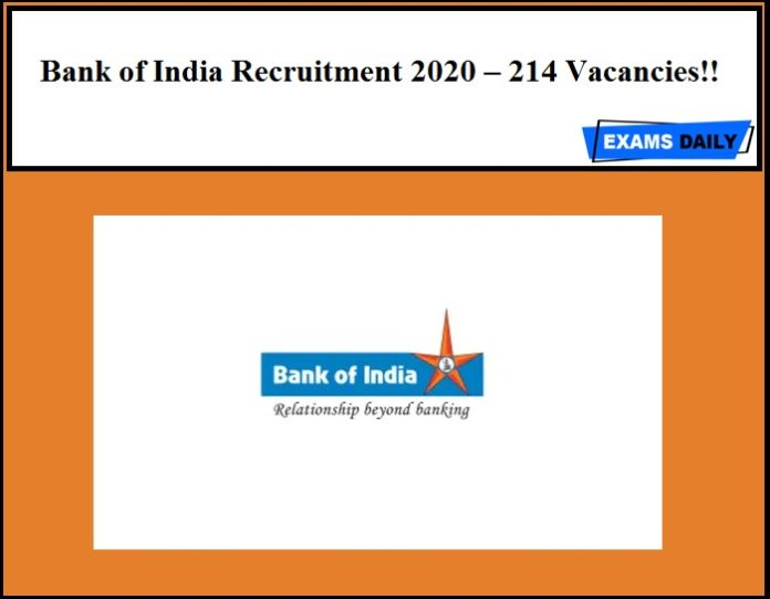 Bank of India Recruitment 2020 Out – 214 Vacancies!!
