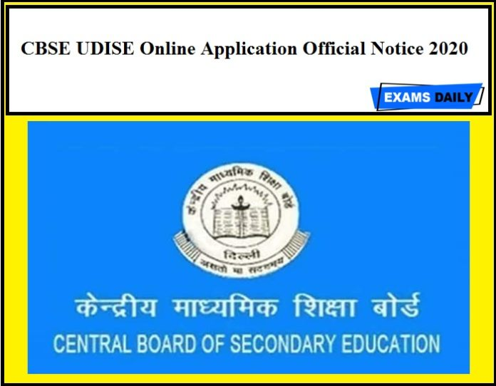 CBSE UDISE Online Application Official Notice 2020