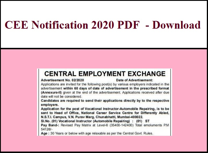 CEE Notification 2020 PDF - Download