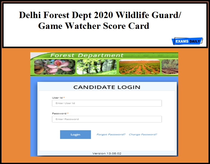 Delhi Forest Dept 2020 Wildlife Guard Game Watcher Score Card