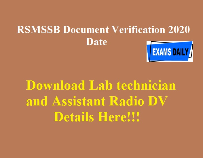 Download Lab technician and Assistant Radio DV Details Here!!!