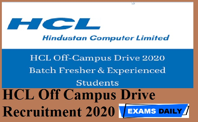 HCL Off Campus Drive Recruitment 2020