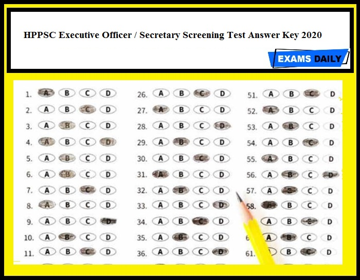 HPPSC Executive Officer Secretary Screening Test Answer Key 2020