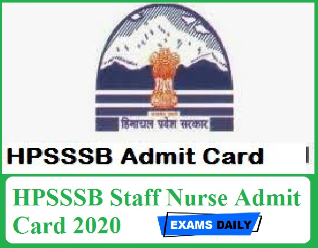 HPSSSB Staff Nurse Admit Card 2020