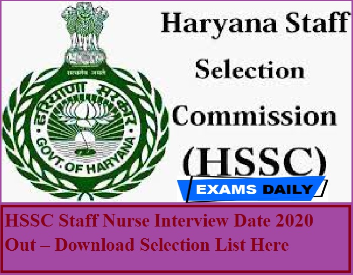HSSC Staff Nurse Interview Date 2020 Out – Download Selection List Here