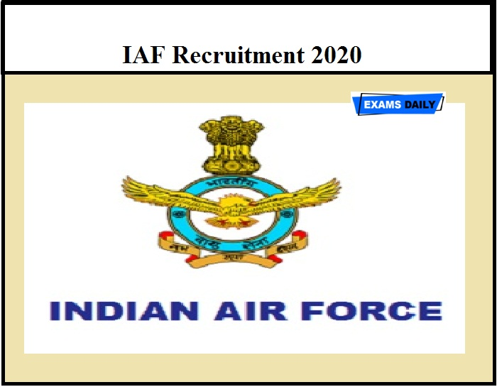 IAF Recruitment 2020 OUT – Apply for Intake 01 2021 (Non-Technical trade Post)