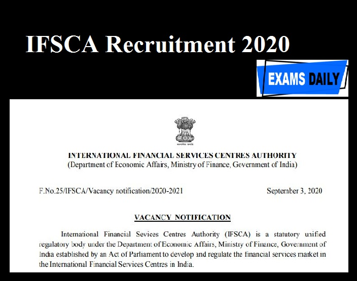 IFSCA Recruitment 2020