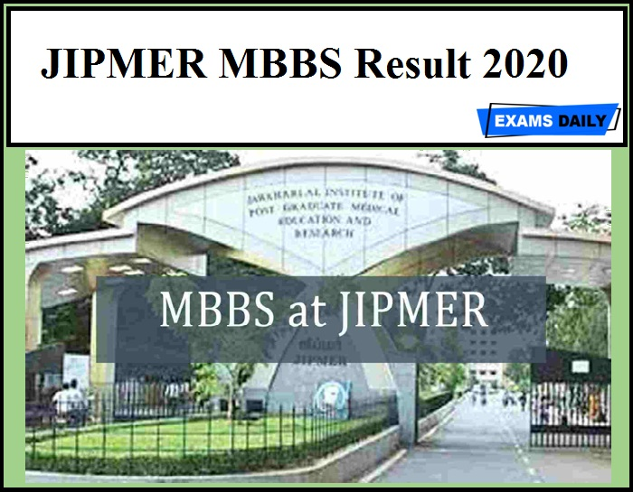 JIPMER MBBS Result 2020 Out – Download Now!!