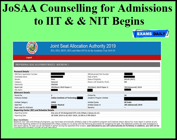 JoSAA Counselling for Admissions to IIT